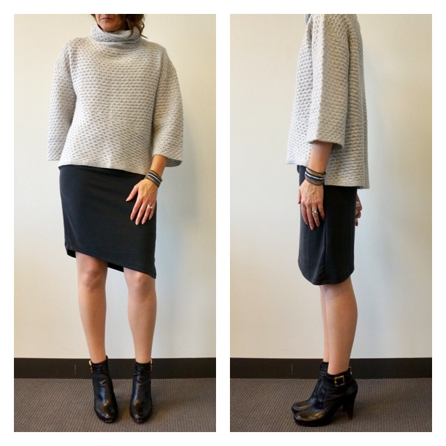 Cozy Sweater with Dress Side-by-Side my9to5shoes.com