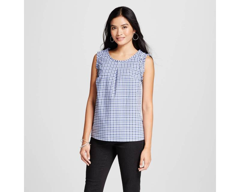Women's Gingham Top - Merona™ Navy