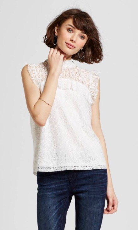 Women's Lace Ruffle Top With Trim White - Alison Andrews