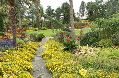 Paths are lined with beautiful plantings.