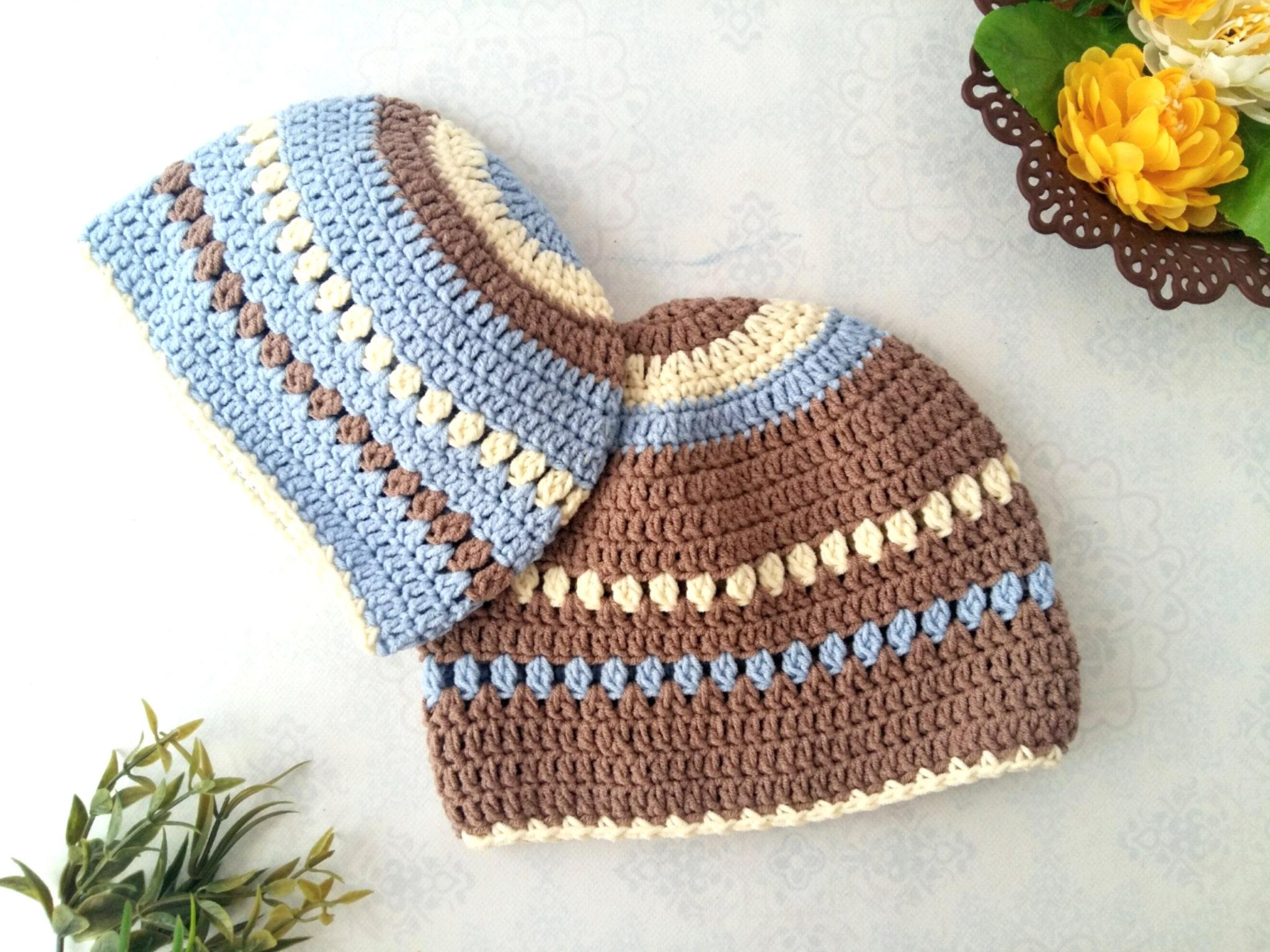 The creamy crochet baby beanie close up #crochet #baby #beanie