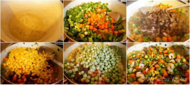 process shot of making fresh vegetables, prawns and liver