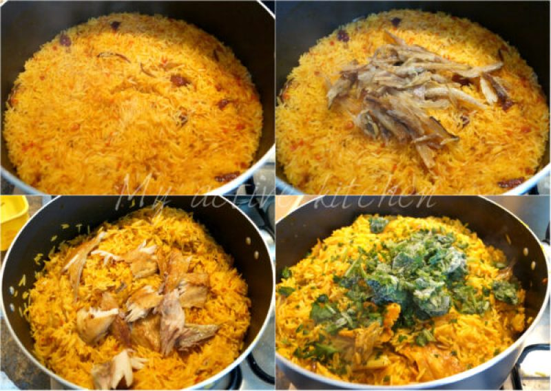 the process of making palm oil rice (native jollof rice) shown in 4 image collage.