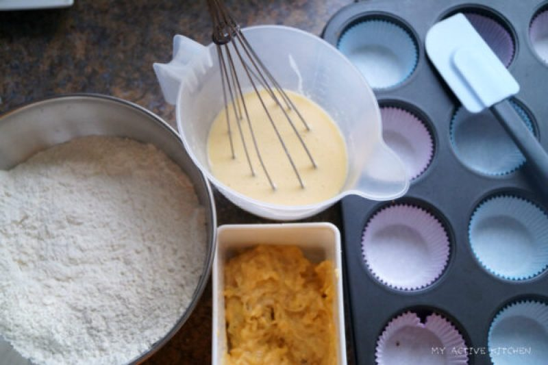 ingredients for plantain muffin.