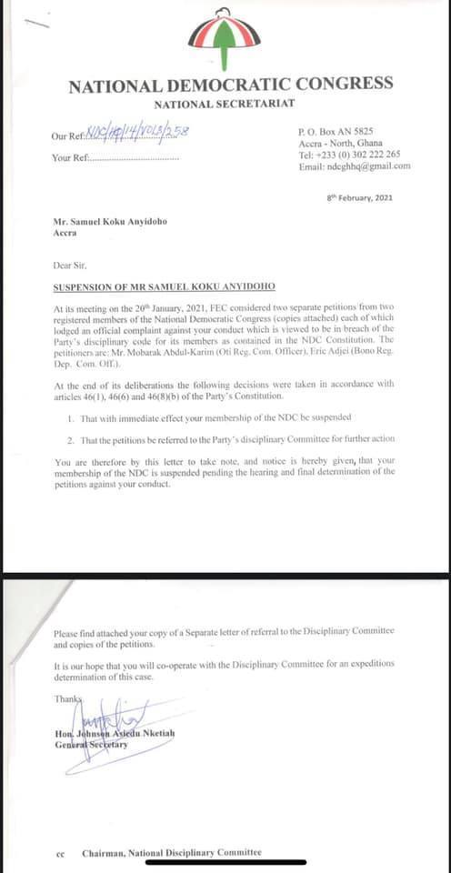 NDC suspends Koku Anyidoho with immediate effect; refers him to disciplinary committee