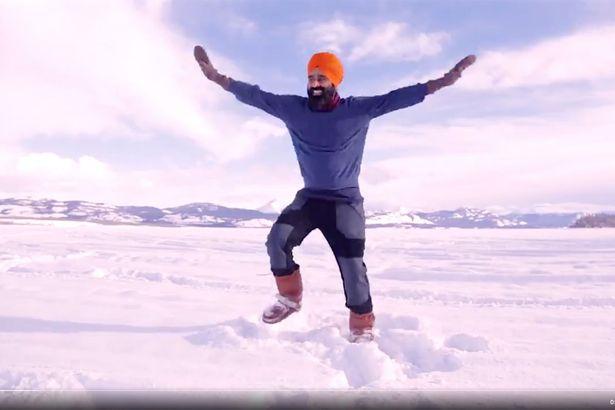 Man dances on frozen lake after receiving vaccine