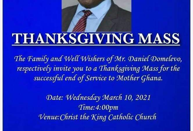 poster advertising domelevo retirement thanksgiving service
