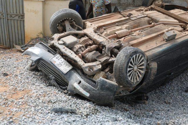 The summersaulted Hyundai car