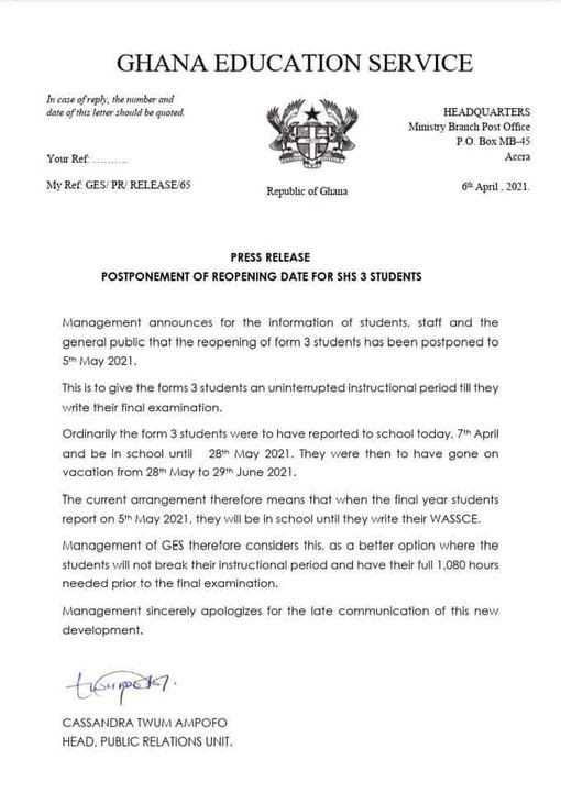 GES Statement on postponement of reopening dates for final year SHS students