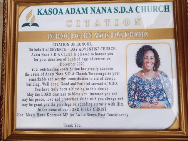 The citation presented to Hawa Koomson by a Kasoa SDA church