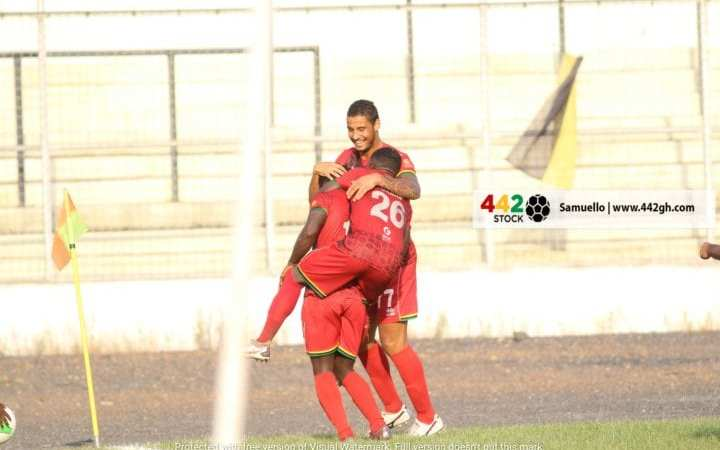 Kotoko players celebrating one of their goals against Chelsea