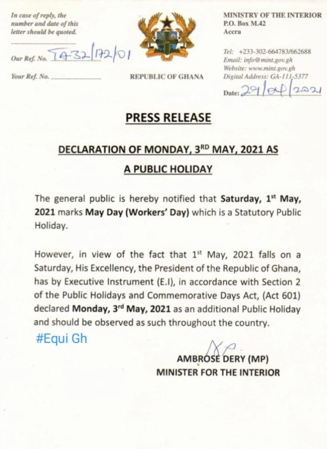 Statement from the Interior Ministry announcing May 3 as a public holiday