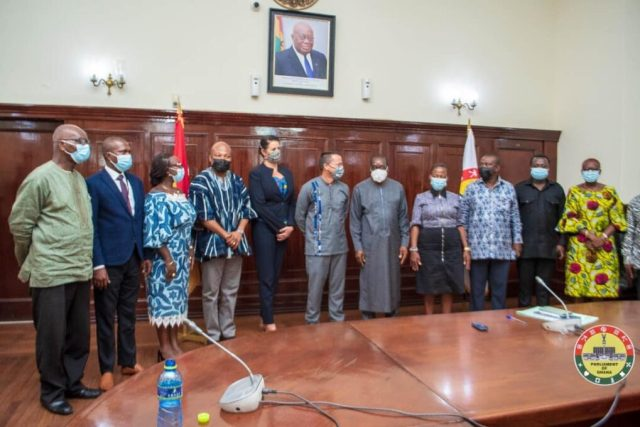 Speaker of Parliament, Alban Bagbin with the Australian High Commissioner to Ghana. In the photo are some Members of Parliament and officials from the Australian High Commission in Ghana