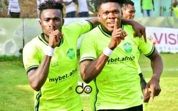 Dreams FC players celebrating against Hearts of Oak during their week 22 league clash at Dawu on 2nd may 2021