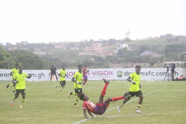 Hearts player attempts an overhead kick during their match against Dreams FC at Dawu on 2nd May 2021
