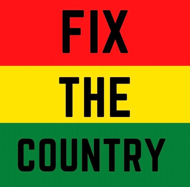 FixTheCountry hashtag promo flyer by Ghanaian youth