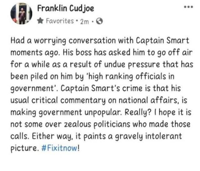 Franklin Cudjoe's post