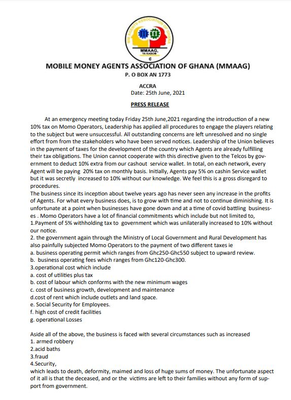Statement by Mobile Money Agents resisting government's new tax