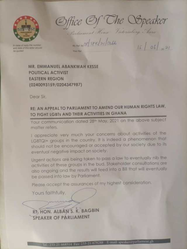 Alban Bagbin's reply to the letter of a Emmanuel Abankwah Kesse on the activities of LGBQTI in Ghana
