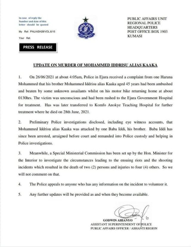 Police statement on Kaaka's murderer