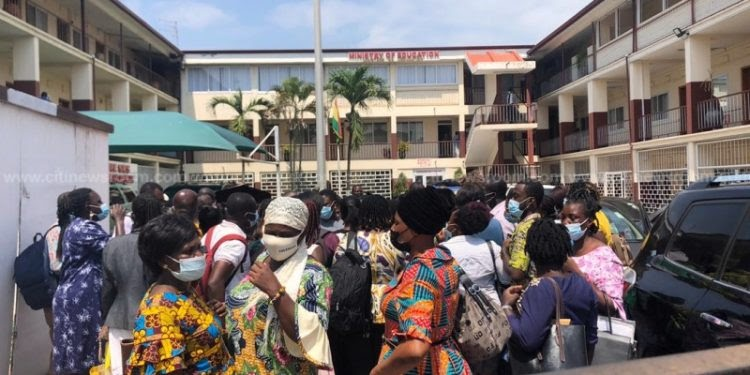 Teachers storm Education Ministry over discrepancies in results of promotion exams