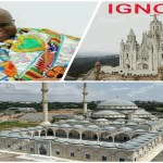 Akufo-Addo in a graphic work with the National Mosque and National Cathedral artistic impression