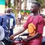 Emmanuel Tuloe on a motorbike