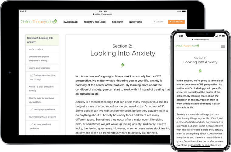 online cognitive behavioral therapy for anxiety
