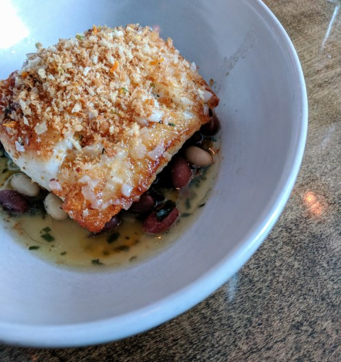 Hake with heirloom beans