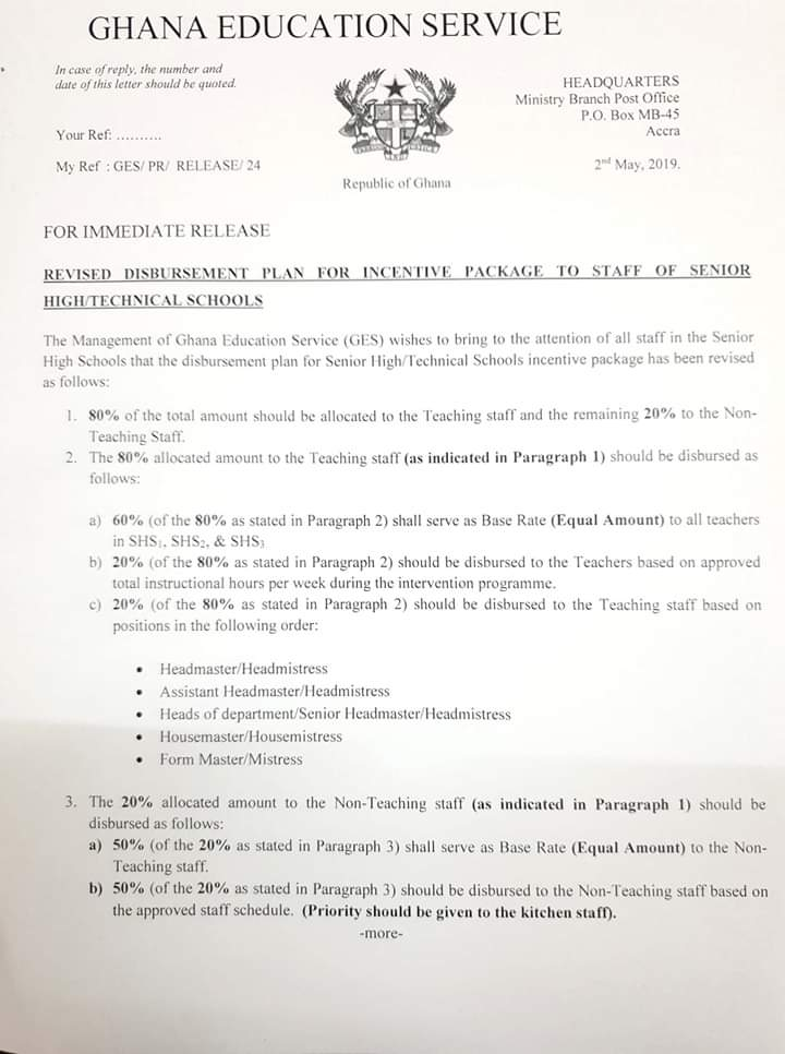 JUST IN: Anlo SHS Teachers 'fight' management over disbursement of GHc113,574 Intervention Fund 1