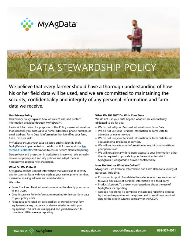 MyAgData Data Stewardship Policy