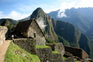 The Guardhouse with Huayna Picchu in the background.