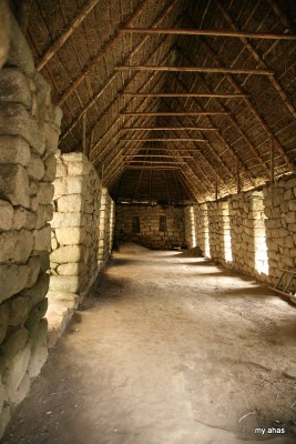Roofs have been reconstructed on several building to demonstrate the building technique.