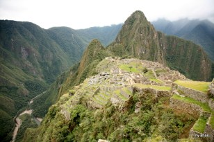 Looking down to the Urubamba River on the west side of Machu Picchu.