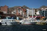 "Copacabana dock on Lake Titicaca. Looking up the ""main drag."""