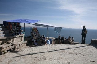 At the summit of Cerro Calvario--that's me at right, taking in the view.