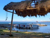 Isla del Sol with a view of the Cordillera Real mountain range.