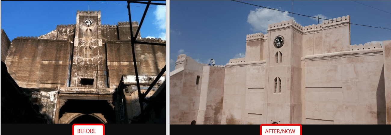 Bhadra fort - Before and after renovation