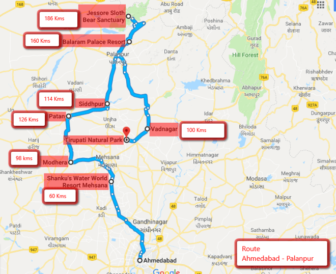 Ahmedabad to Palanpur Route