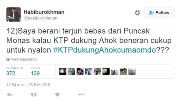 Janji Ketua DPP Gerindra Habiburokhman di Twitter soal KTP Teman Ahok
