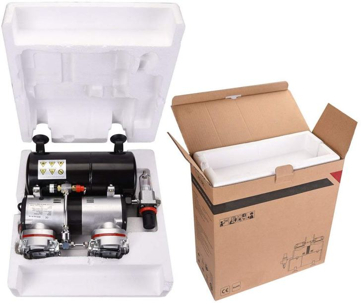 AW Pro 1/3 HP Twin-Cylinder Airbrush Compressor