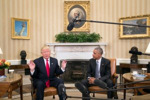 "Meeting with President Obama in the Oval Office on Thursday, Mr. Trump said he looked forward ""to dealing with the president in the future, including counsel."" Credit Stephen Crowley/The New York Times"