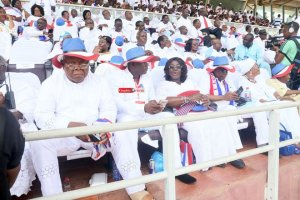 Prof Mike Ocquaye (L) and other NPP members at thanksgiving service
