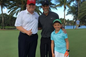 Tiger Woods with the Trumps