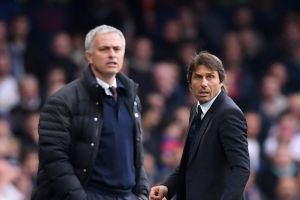 Jose Mourinho of Manchester United and Antonio Conte of Chelsea