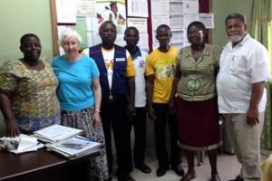 Elaine Bunick and Adolf King, members of Rotary Club of Oak Ridge, are pictured with Ghanaians in the village where they led the medical and educational missions. (Submitted photo)