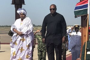 ECOWAS Chair, Ellen J. Sirleaf and President Mahama  arrive in Gambia