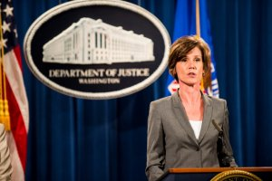 Sally Q. Yates, the acting attorney general, during a news conference in June. Credit Pete Marovich/Getty Images