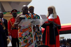 Ghana's President elect Nana Akufo-Addo takes the oath of office during the swearing-in ceremony lead by Ghana Chief Justice Georgina Theodora Wood at Independence Square in Accra, Ghana January 7, 2017. REUTERS/Luc Gnago