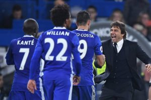 Antonio Conte, right, enjoys another victory during Chelsea's surge to the top of the Premier League in his first season in charge. Photograph: Javier Garcia/BPI/Rex/Shutterstock